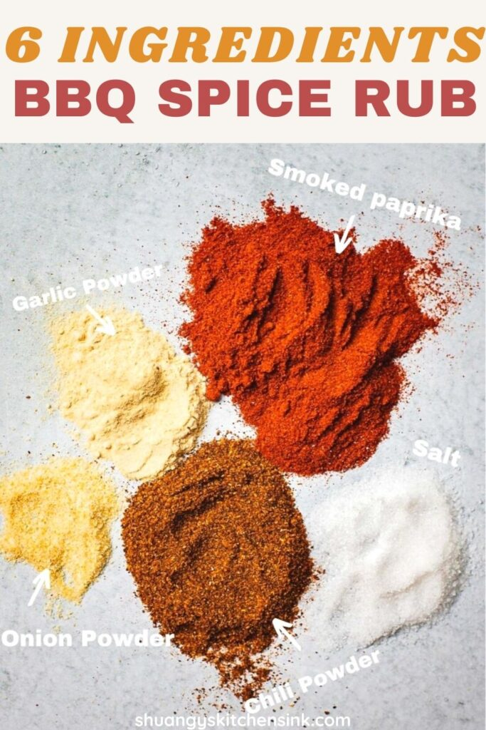 Piles of onion powder, garlic powder, salt, smoked paprika, and chili powder