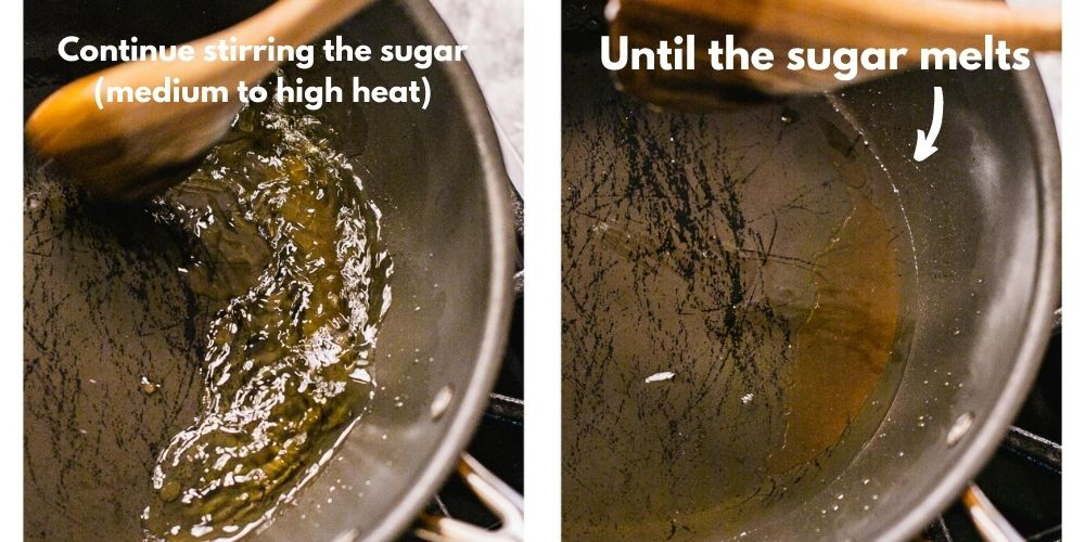 sugar is being caramelized in oil