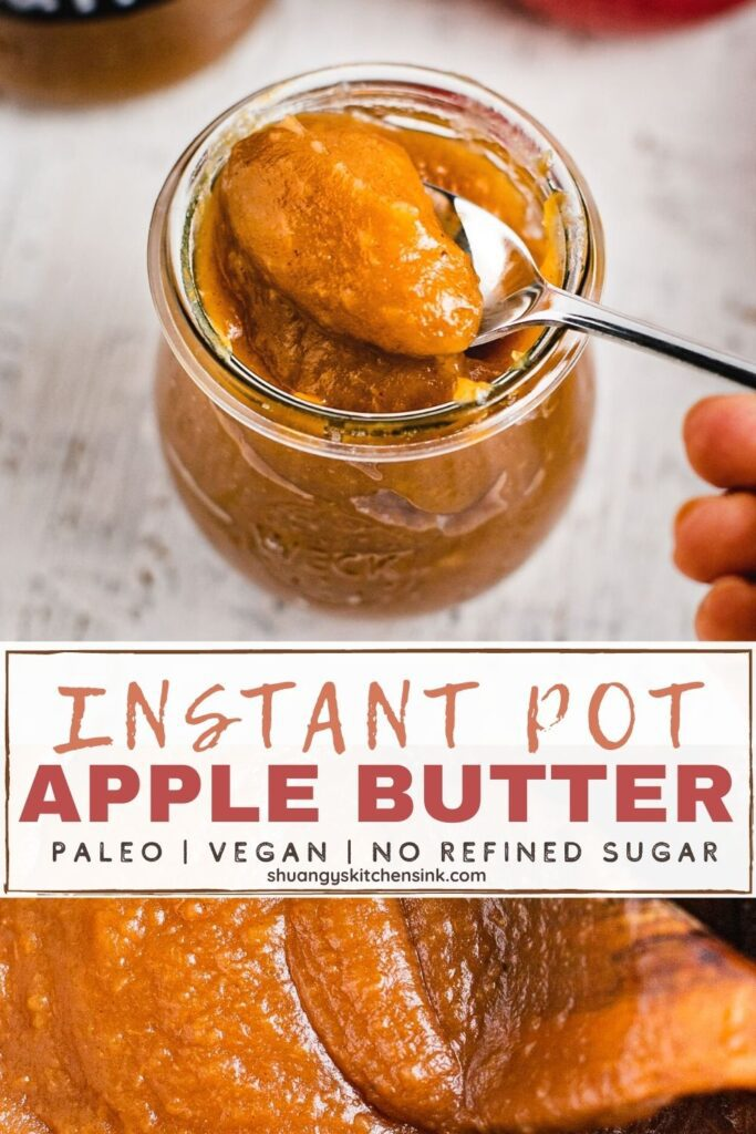 A jar or homemade vegan and paleo apple butter spiced with pumpkin pie spice