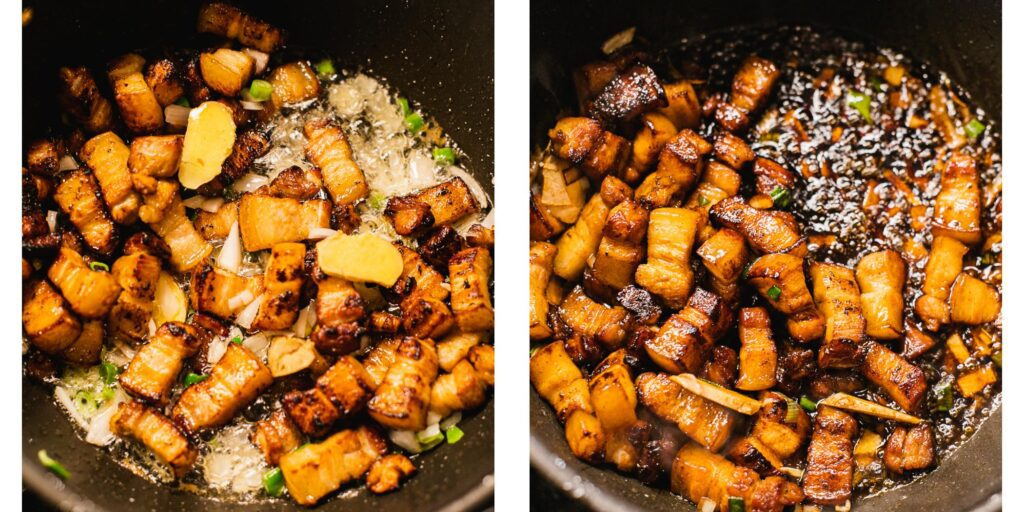 meat, ginger and onions are being pan fried
