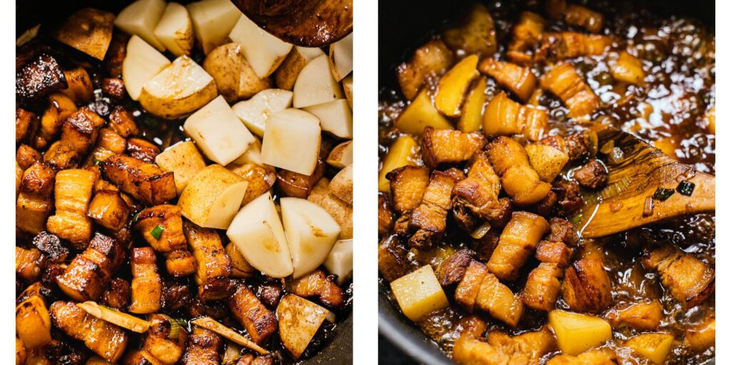 meat, ginger, potatoes, and onions are being pan fried