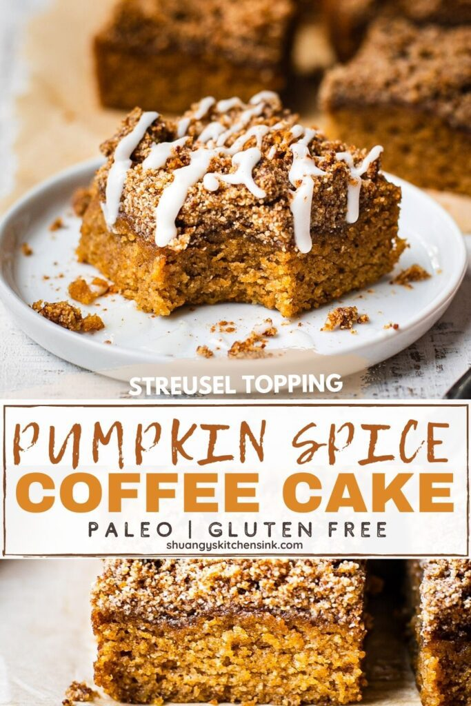 A piece of gluten free and paleo pumpkin coffee cake that's moist and soft. It's topped with a sweet crumble streusel and a dairy-free icing