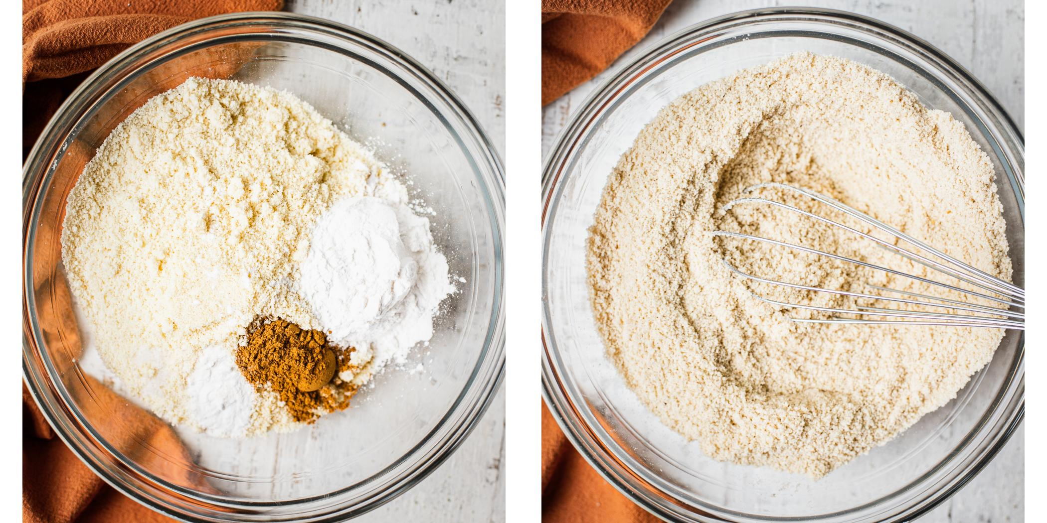 Almond flour, salt, tapioca flour, and baking soda being mixed together