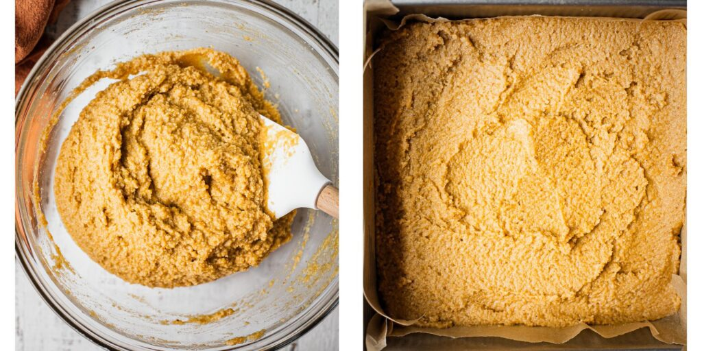 gluten-free cake batter, first in a glass bowl and then in a baking dish