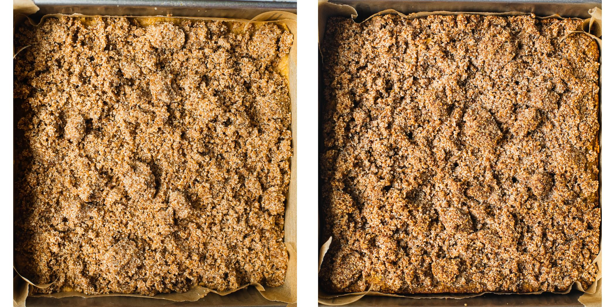 A baking pan with a fall-spiced cake topped with sweet paleo streusel