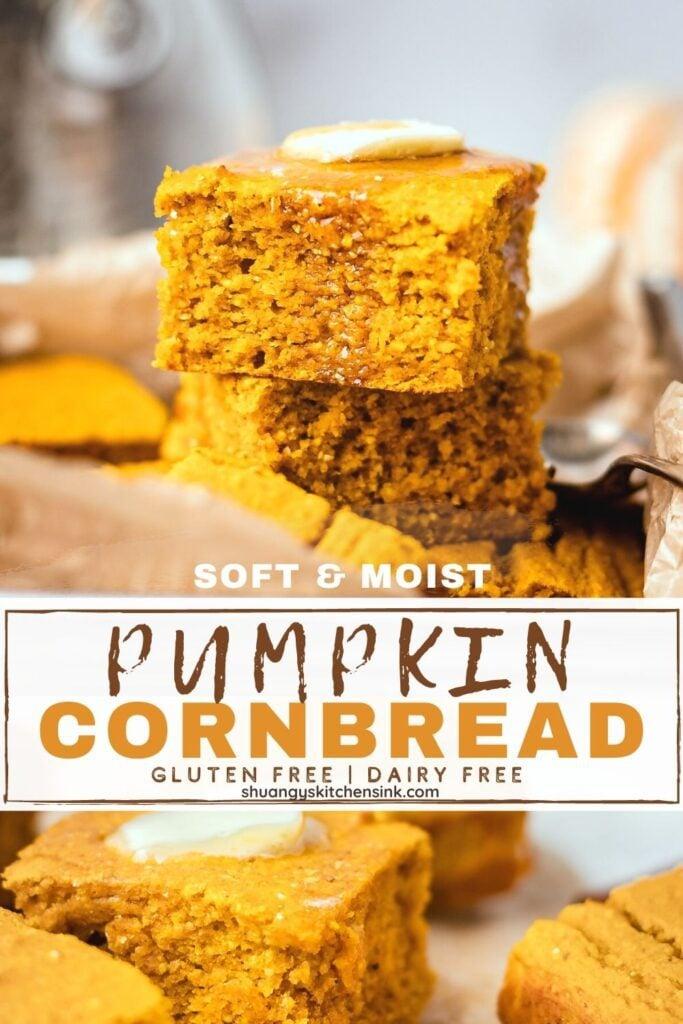 soft and moist pumpkin cornbread that's gluten-free and dairy-free