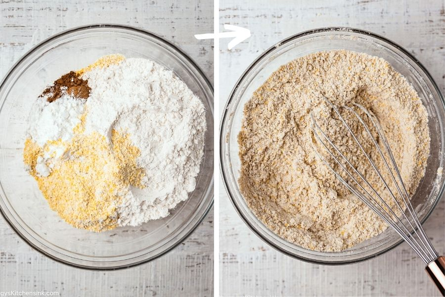 a mixing bowl with gluten-free flour, cinnamon, salt, and baking soda