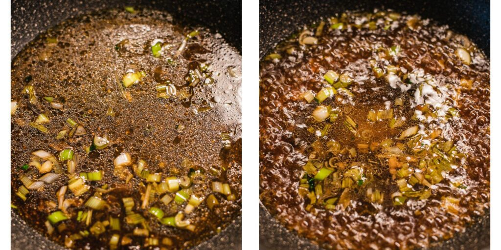 soy sauce and scallions cooking in a pan