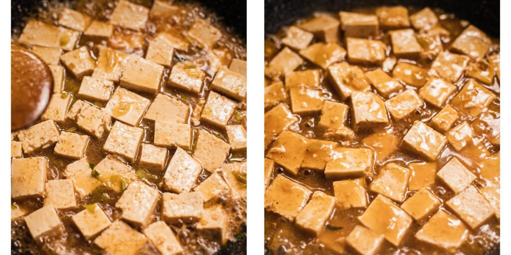vegan tofu being cooked in a glossy sauce