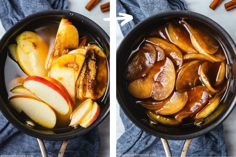 fall fruit in a pot with cinnamon, cider, and brown sugar to make a homemade coffee drink