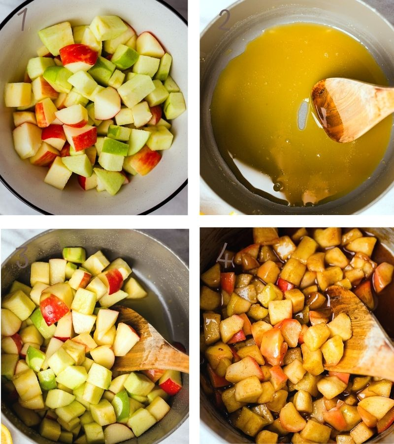 Apples cooked in maple syrup and apple pie spice