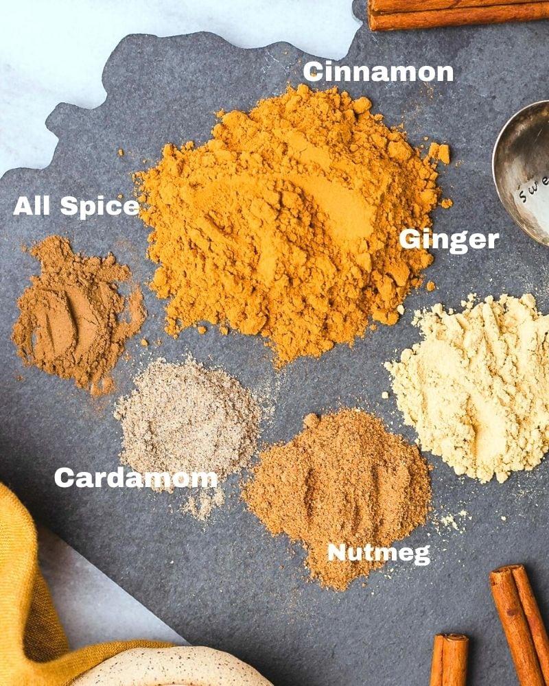 piled of allspice, cinnamon, ginger, cardamom, and nutmeg