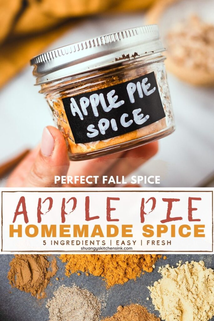 a small mason jar with homemade apple pie spice in it . It is labeled with a black an white hand written note