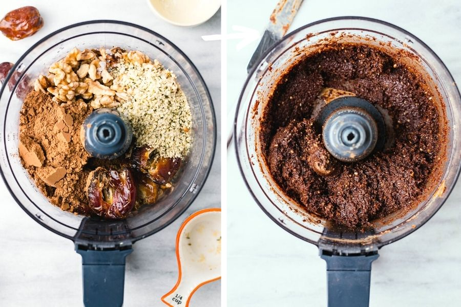 A blender with walnuts, cacao powder, hemp seeds, and Medjool dates