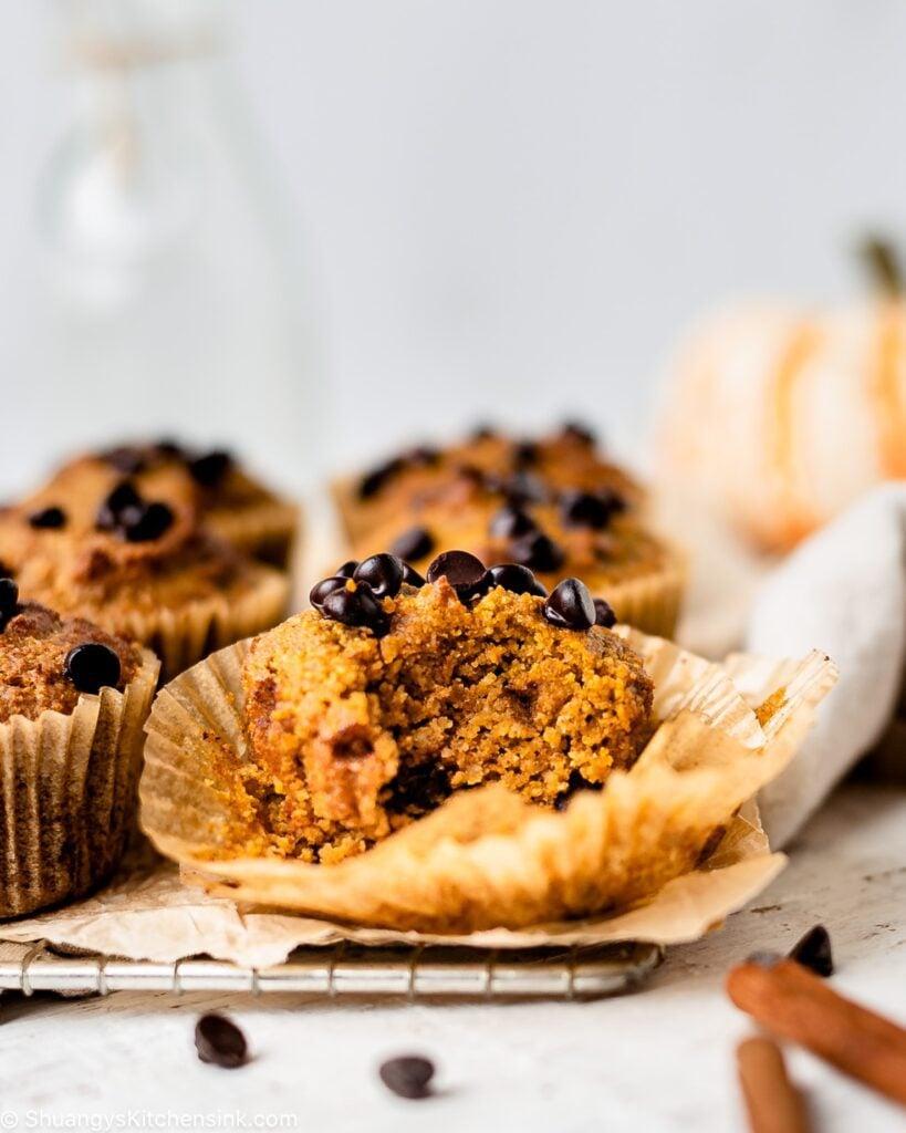 A fluffy gluten free pumpkin pie spice chocolate chip muffins
